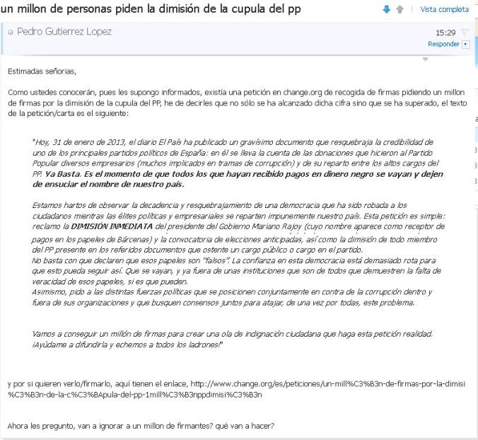 Carta enviada a los diputados informandoles del millon de firmas y preguntandoles qué van a hacer.